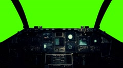 Spaceship Cockpit in a Pilot Point of view on a Green Screen Background Stock Footage