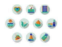 Round icons vector collection for Xmas holidays Stock Illustration
