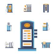 Refuel station flat color vector icons set Stock Illustration