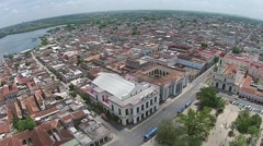 Aerial static shot parque central to Havana rooftops Cuba Stock Footage