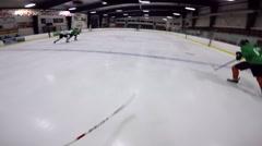 hockey helmet cam shot and save - stock footage