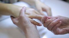 Manicure procedure. Nail salon. Stock Footage