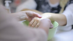 Hand massage in the manicure room Stock Footage