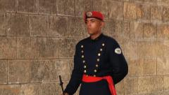 Guard stands on duty in Santo Domingo, Dominican Republic. Stock Footage