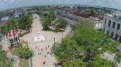 Aerial Parque Central, José Martí, statue, Havana, Cuba Stock Footage