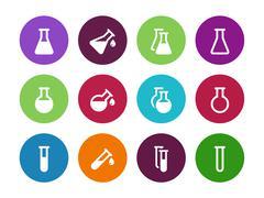 Chemistry flask circle icons on white background Stock Illustration