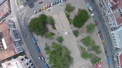 Aerial overhead angle  Parque Central, Havana, Cuba Stock Footage