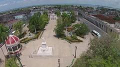 Aerial Cuba, Havana, Parque Central, Central Park, neighborhood rooftops Stock Footage