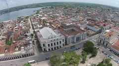 Stock Video Footage of Aerial favorite twirl Parque Central, neighborhood rooftops to havana port