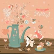 Still-life with a bouquet of flowers, birds, cups and cakes - stock illustration