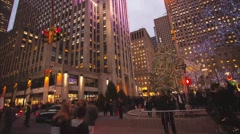 NEW YORK - DECEMBER 15:  A Panning Time Lapse of The Christmas Tree in Rockefell - stock footage