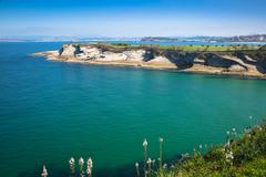 Panoramic view of the coast of Santander from the Bella Vista lighthouse (Can - stock photo