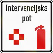 Slovenian road sign with the words: Emergency station - stock illustration