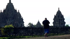 People taking photo of Prambanan temple in Indonesia Stock Footage