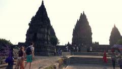 People sightseeing Prambanan temple in Indonesia Stock Footage