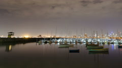 St Kilda night timelapse pan Stock Footage