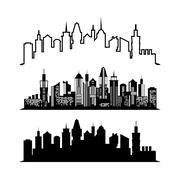 Set of skyscraper sketches. City architect design. Vector illustration Stock Illustration