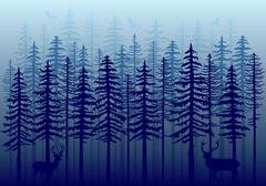Blue winter forest, vector - stock illustration