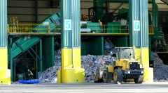 Recycling trash rubbish disposal center - stock footage