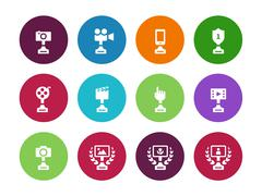 Cup circle icons on white background - stock illustration