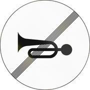 Slovenian road sign - End horn restriction - stock illustration