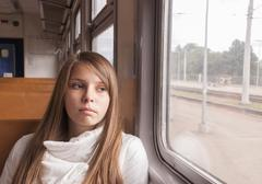 Girl on the train Stock Photos