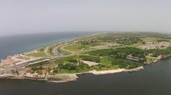 Aerial Havana Port Fort Morro Cuba Stock Footage