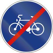 Slovenia road sign - End of Route for pedal cycles only - stock illustration