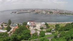 Aerial Drone Havana Bay see Havana Cuba Skyline Stock Footage