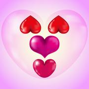 Set of Big Red Hearts - stock illustration