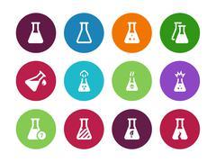 Biology tube circle icons on white background - stock illustration