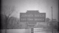 1936: Juniata River Raystown Branch epic flood homes underwater. SAXTON, Stock Footage