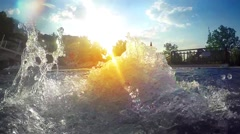 Thermal spring hot water boiling surface on sunset SLOW MOTION Stock Footage