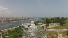 Aerial Pan Havana Port & Christ of Havana Cuba Stock Footage