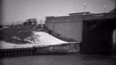 1936: New Deal area bridge construction completed across canal waterway. MIAMI, - stock footage