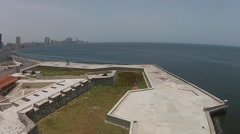 Aerial pan of Havana Port Cuba & Fort Morro Stock Footage