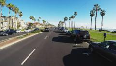 Driving Coast Past Huntington Beach Condos And Beach Park 4 Stock Footage