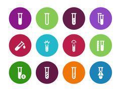 Microbiology equipment test tube circle icons on white background Stock Illustration