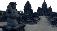 People sightseeing Prambanan temple in Indonesia Stock Footage