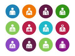 Vector medical organs system circle icons on white background - stock illustration