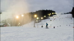 Night skiing at the ski slopes. Timelapse Stock Footage