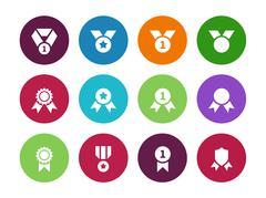 Medal circle icons on white background Stock Illustration