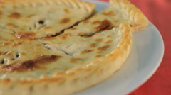 Ossetian pie is a traditional Caucasus cuisine - stock footage