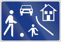 Road sign in Slovenia - Home Zone Stock Illustration
