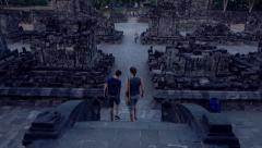 People sightseeing Prambanan temple in Indonesia, slow motion Stock Footage