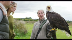 4K Visitors to a conservation centre watching & learning about a bald eagle Stock Footage