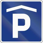 Slovenian information road sign - Parking garage Stock Illustration
