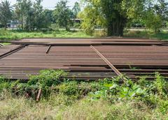 Old rail pile - stock photo