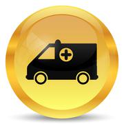 Stock Illustration of Ambulance icon. Internet button on white background..