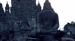 Ancient sculpture in Prambanan temple in Indonesia Stock Footage